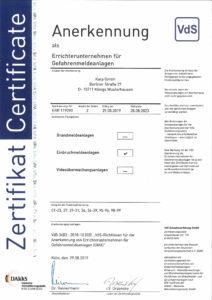Karp GmbH Zertifikat Errichterfirma für Einbruchmeldeanlagen