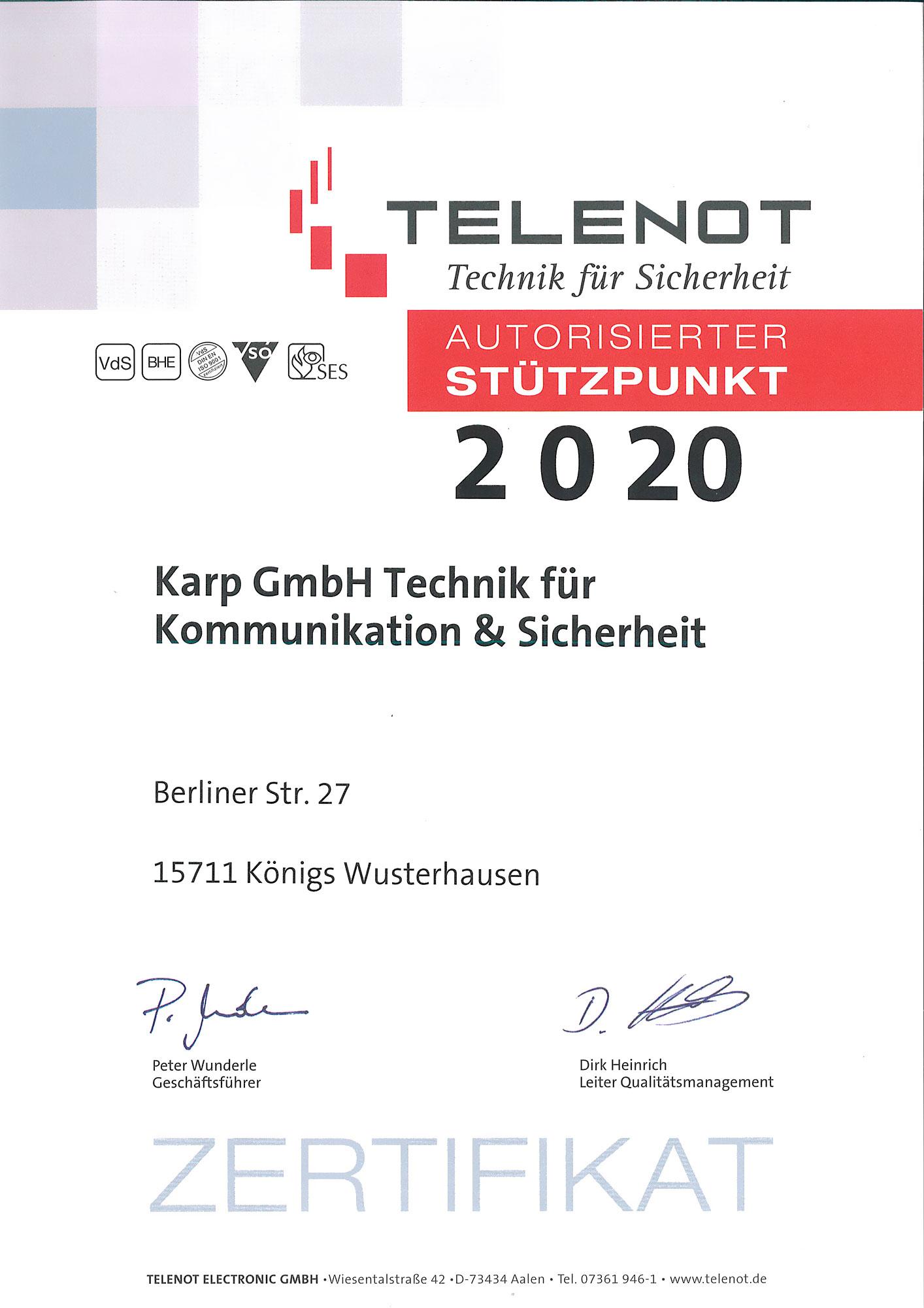 Zertifikat Telenot Stützpunkt 2020